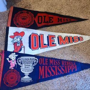 Ole Miss Rebels set of 3 vintage felt pennants